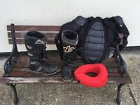 Boots, neck brace and body armour