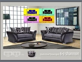 SHANNON 3+2 SOFA AND CORNER IN BLACK/GREY AND BROWN/CREAM - SAVING UP TO 75% - SPECIAL OFFER