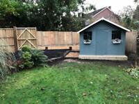 All landscaping, driveways, patios, fencing, decking, sheds and garden maintenance