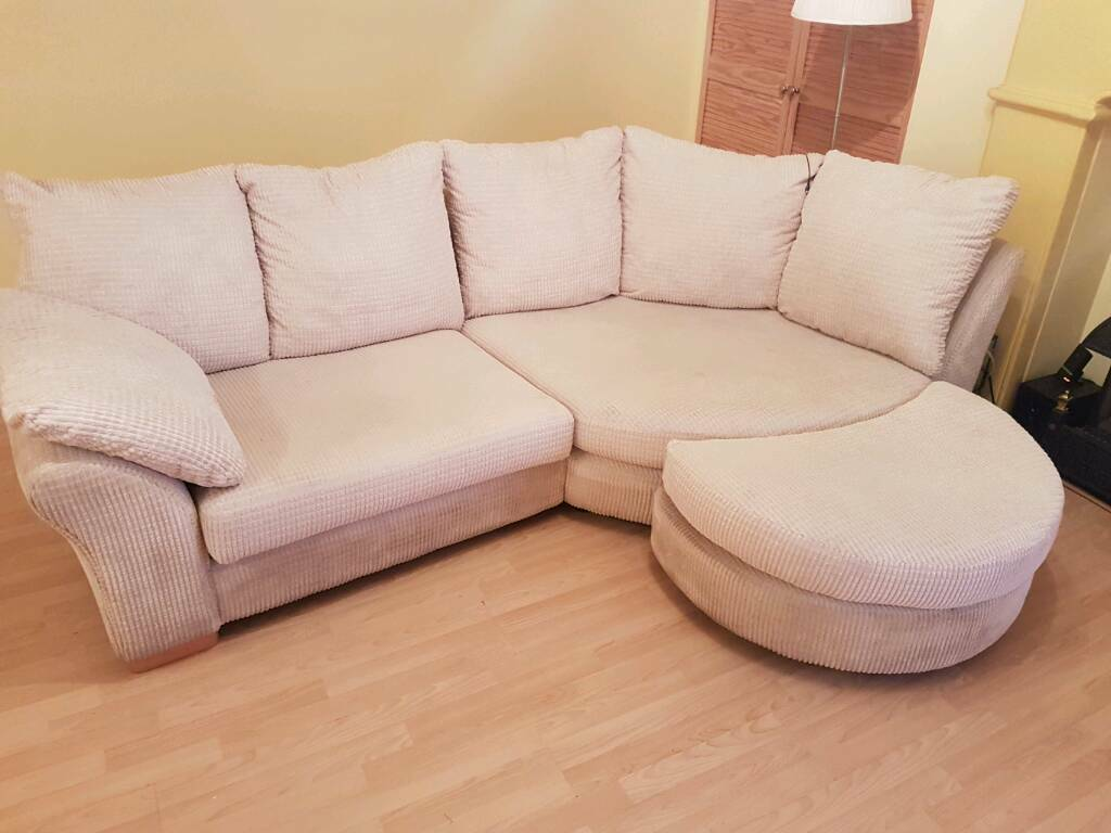 Large DFS Corner Sofa With Half Moon Cream High Quality