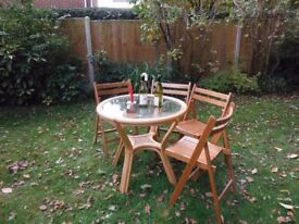 Cane bamboo wicker and glass round dining table
