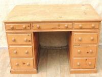 Office 3 part pedestal wooden desk (Delivery)