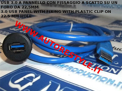 ADATTATORE USB 3.0 DA MASCHIO A FEMMINA A INCASSO PANNELLO PER AUTO O UFFICIO