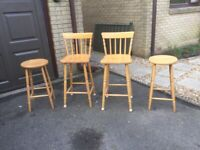 Set of four solid wood bar stools