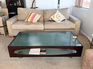 Coffe table - Mahogany timber with glass top Cremorne North Sydney Area Preview