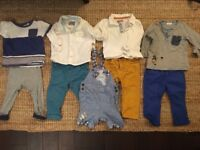Large Bundle Baby Boy Clothes 12-18 Months - trousers, tops, dungarees