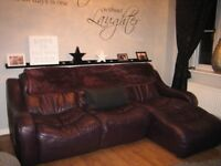 Leather three seater chaise sofa. Immaculate condition. Colour - Purple
