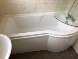 Second hand bath, glass screen, toilet, taps etc