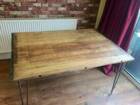 SOLID BEECH TABLE WITH HAIRPIN LEGS - CAN DELIVER - VERY HEAVY - EXCELLENT QUALITY
