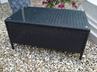 BLACK RATTON AND SMOKED GLASS COFFEE TABLE IN VERY GOOD CONDITION ONLY £20