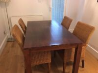 Solid Mahogany dining table with 4 matching chairs with Mahogany frame