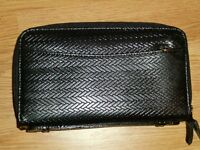 Black mock leather travel wallet, New!