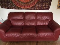 Dark red/burgund 3 seater leather sofa free delivery