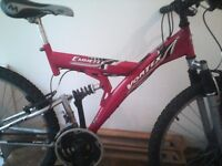 EMMELLE VORTEX, MENS OR LADIES MOUNTAIN BIKE,18 INCH FRAME,26 INCH WHEELS,18 GEARS,