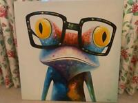 Fun artwork on canvas - frog and gorilla (can be bought separately)