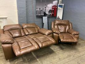 HARVEYS LEATHER SOFA SET RECLINERS IN EXCELLENT CONDITION