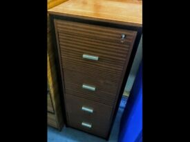 SOLD! 4 Drawer Tall Wood Office or Home Filing Cabinet Used C