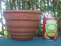 Elegant Small Terracotta Garden Pot with Swag & Dot Detail 13½cm tall (1108)