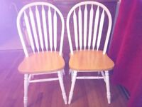 Pair of high-backed kitchen chairs