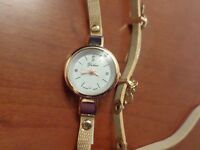 clock jewellery brown new golden