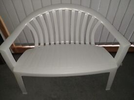 white plastic bench seat