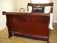 Elegant Antique Dark Cherry Wood Double Sleigh Bed