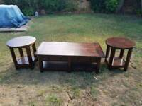 Solid oak coffee table, 2 matching solid oak side tables