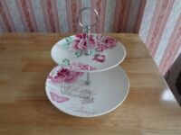 Vintage Two Tiered Arthur Wood Ceramic Cake Stand