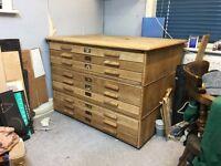 Oak Plans Chest for Printmaker, Artist etc.