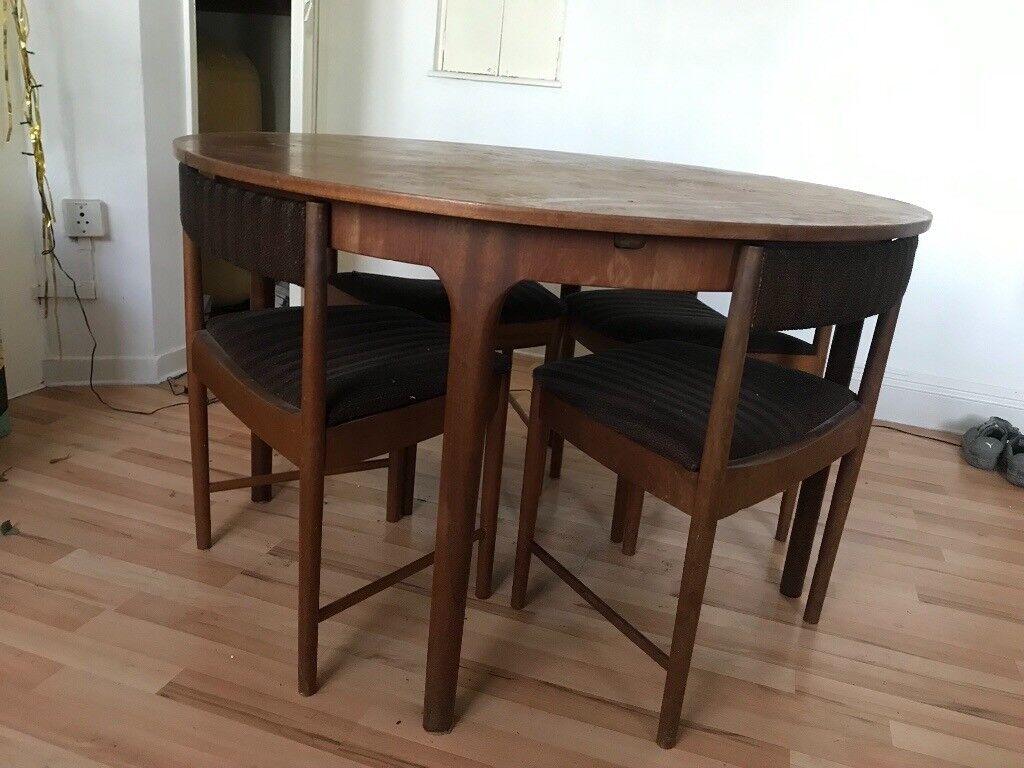Vintage Retro Designer Mcintosh Mid Century Teak Extendable Dining Table With Nesting Chairs