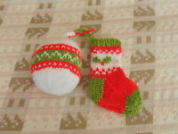 New Hand Knitted Stocking and Bauble Christmas Decoration