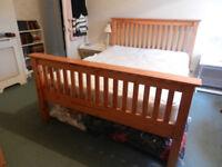 Julian Bowen Barcelona Honey Pine Wood Slated Double Bed