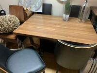 walnut effect dining table and chairs