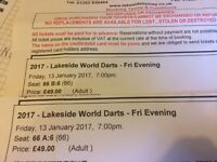 Darts Lakeside Friday 13th January Evening 7pm. 2 Premium tickets for sale