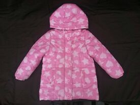 Girls Pink 'Hearts & Stars' Hooded & Padded Coat by Ladybird, Age 3-4 years