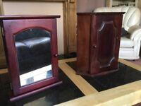 2 mahogany corner bathroom cabinets £15 each or £25 the pair