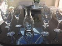 Waterford carafe and wine glasses