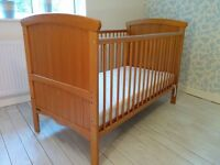 Solid cot bed and mattress