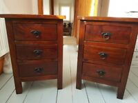 Two solid wood bedside tables