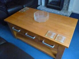 Solid Wood Coffee Table & Six Drawers