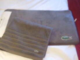 brand new 100% authentic lacoste memory foam bath matt and bath sheet.