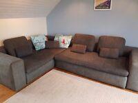 Habitat corner sofa, sofa bed. Contemporary, Dark grey, well built good quality, feather cushions