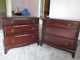 2 matching 'Stag' 3 drawer Chest of Drawers