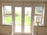 External UPVC Double Glazed Patio / French Doors with Side Windows