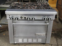 STAINLESS STEEL GARLAND 6 BURNER GAS COMMERCIAL CATERING COOKER & OVEN
