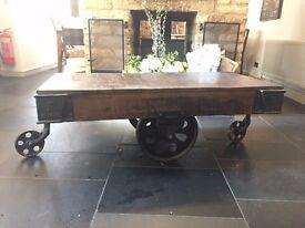 Vintage Reclaimed Cart Table L130cm x W65cm x H45cm