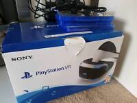 SONY PSVR HEADSET, CAMERA, MOTION CONTROLLERS AND 3 GAMES