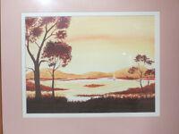 Large Artist Signed & Framed Vintage Watercolour Painting Landscape at Sunrise / Sunset Picture Art