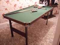 Snooker / Pool table 6' x 3' excellent condition clean and tidy, with all accessories, some boxed