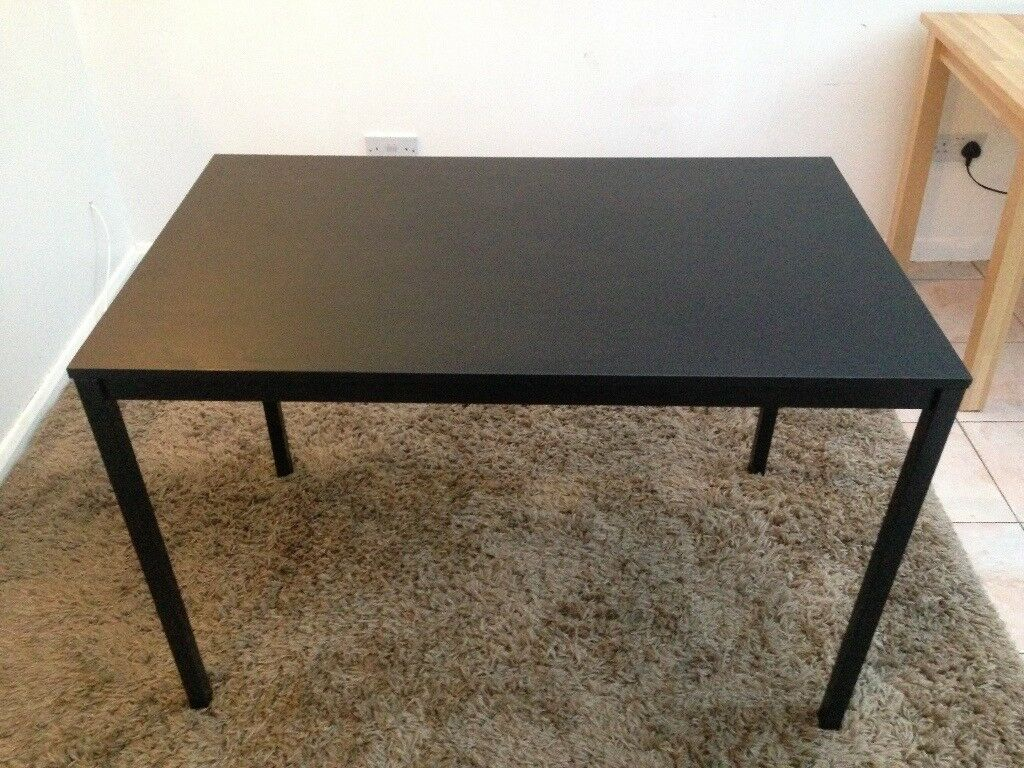 Small Black Table And 4x Fold Up Chairs Second Hand From Ikea